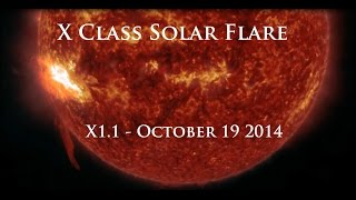 10/19/2014 -- X-Class Solar Flare (X1.1) Earth Facing -- Multiple views from SDO