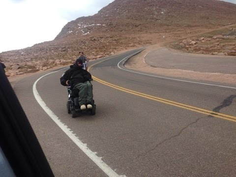 Pikes Peak Descent by Electric Powerchair Wheelchair 2016 summit RAW