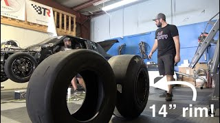 """Mounting 10.5 slicks on a 14"""" wide rim! STREET OUTLAWS NO PREP"""