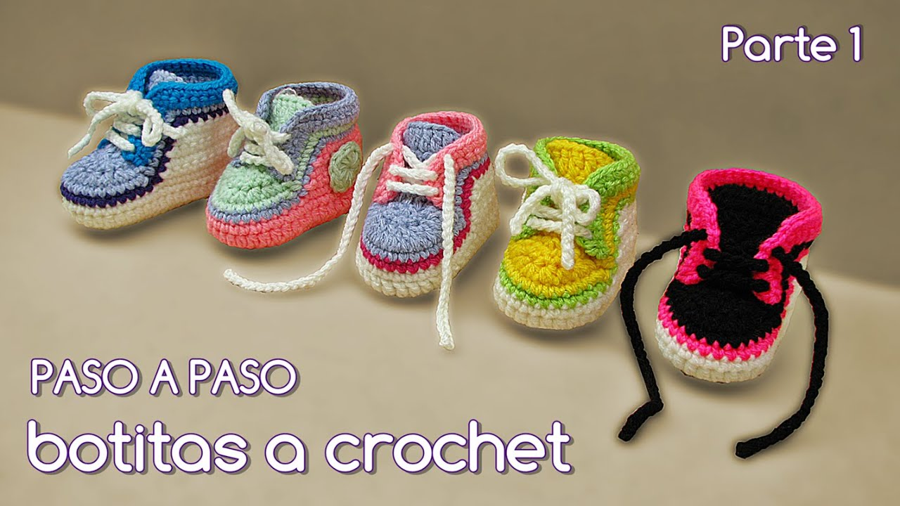 Crochet Tutorial Zapatitos Escarpines : Como tejer zapatitos botitas escarpines bebE crochet, ganchillo ...