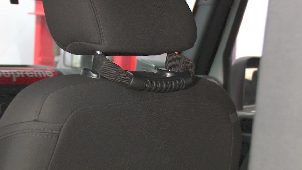 2 Piece Car Rear Seat Headrest Handle Set with Hole for 1995-2017 Wrangler default Black Grab Handle