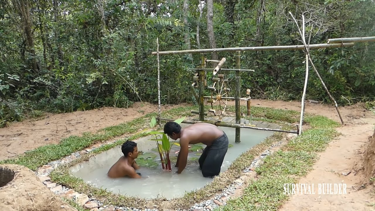 Primitive Technology: Build Water Wheel Fish Pond Part 02