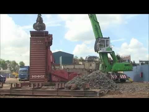 SENNEBOGEN - Scrap Handler: 830 Material handling machine E-Series at container loading, UK