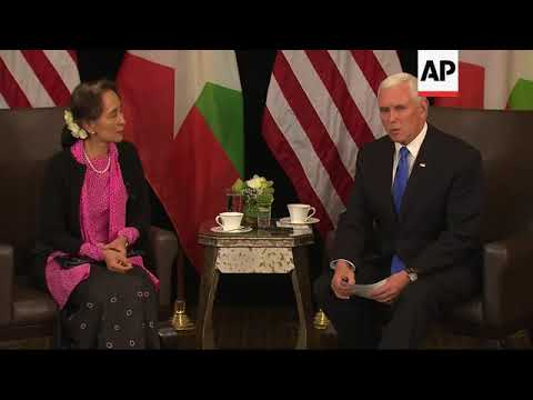 Aung San Suu Kyi meets US VP Pence, comment on Rohingya