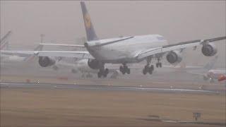 16.0万回再生❣ 壮絶着陸!機体を叩きつけられたルフトハンザ航空A340損傷が激しいのか成田空港に!hironuma thumbnail