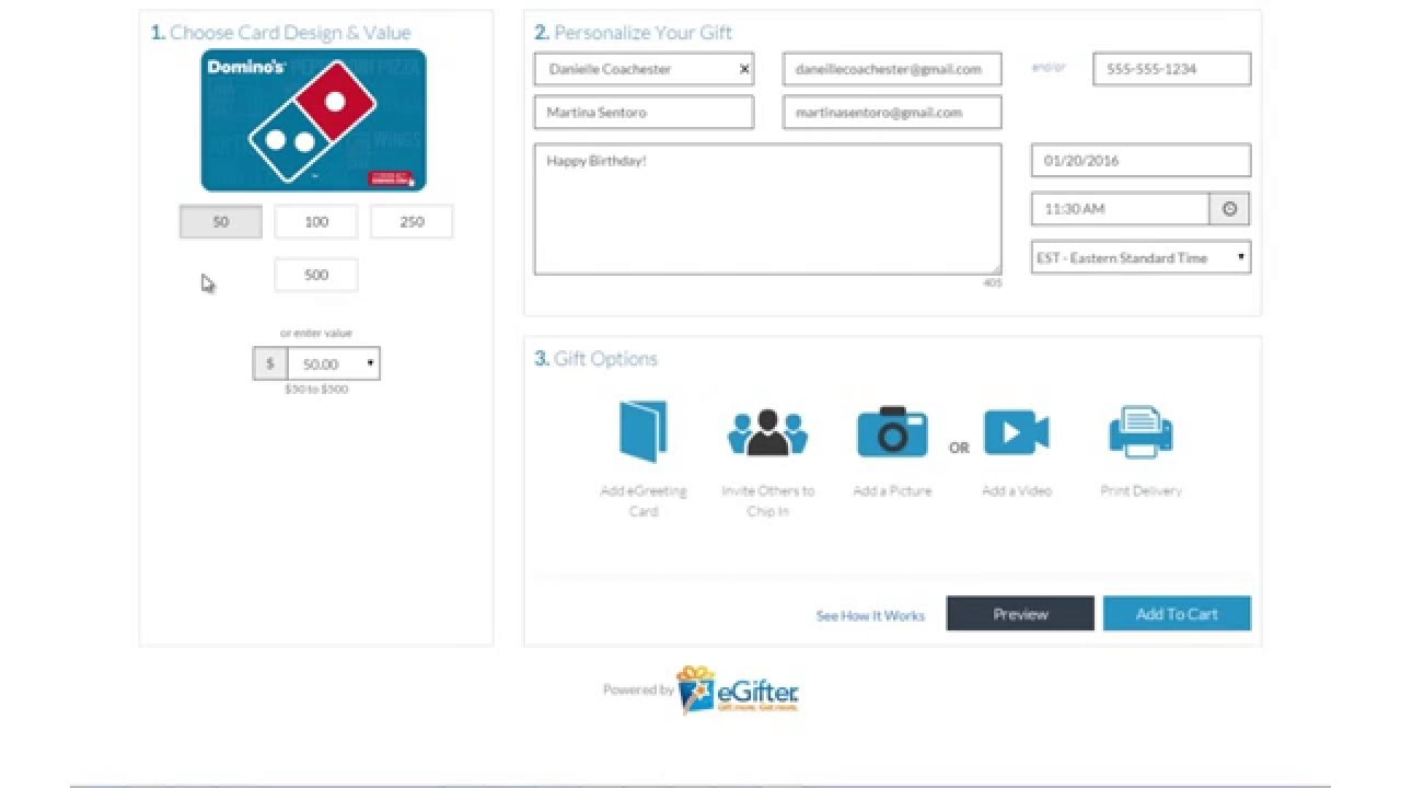 How to send a Domino's Pizza Gift Card to a friend. - YouTube