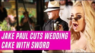 Jake Paul and Tana Mongeau's Wedding Cake Cut With a Giant Sword