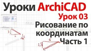 Уроки ArchiCAD (архикад) Урок03.Рисование по координатам. Урок №1.Часть1