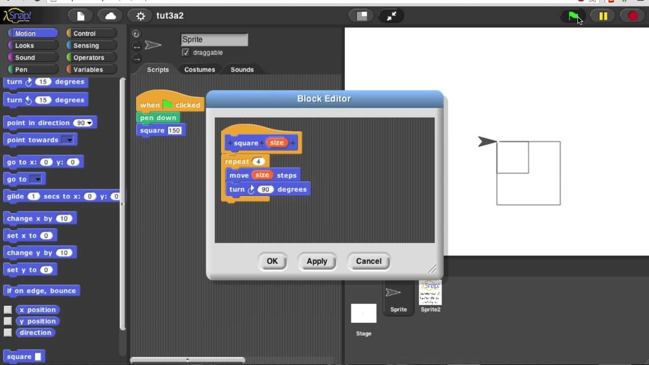 Snap Tutorial Iiia2 Custom Blocks With Inputs Youtube