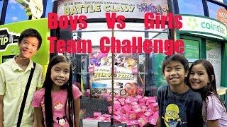 BOYS TEAM VS GIRLS TEAM: NEW 2017 Gaming Release Battle Claw Machine GamerGreen Prize Wins