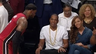 LeBron James Dunks After Talking to Jay Z & Beyonce