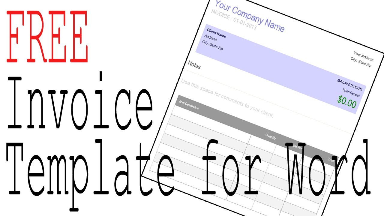 Free Invoice Template Word And Office Compatible Software   Manage Your  Taxes   YouTube