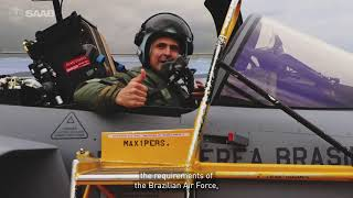 homepage tile video photo for Brazilian pilot flies the Brazilian Gripen for the first time