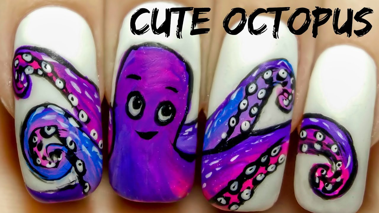 Cute octopus freehand nail art tutorial youtube prinsesfo Image collections