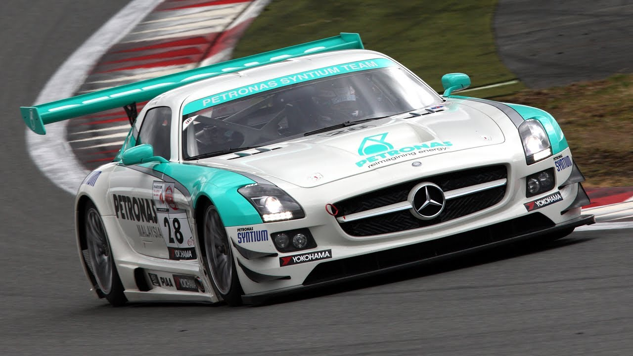 Mercedes benz sls amg gt3 wet on board at fuji speedway for Mercedes benz race car