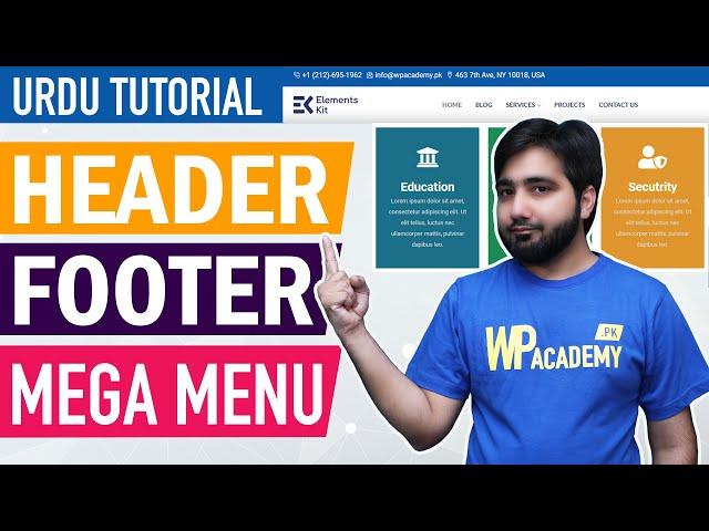 Elementor - Custom Header, Footer & Mega Menu - Urdu & Hindi Tutorial