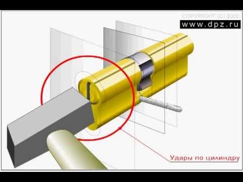 Вытягивание цилиндра --   Вскрытие цилинрового замка выбиванием вставки молотком (У вставки есть одно слабое место - место её крепления. Если вы упрёте фомку с торца