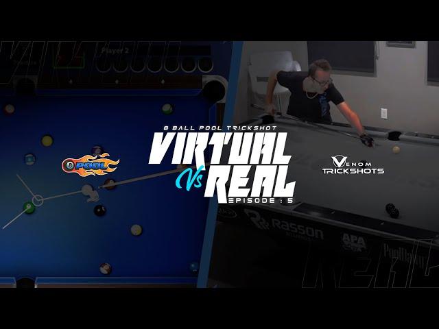 VIRTUAL VS REAL 8-BALL POOL TRICK SHOTS -- Venom Trickshots EP 5