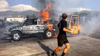 DOING A BURNOUT TILL MY TRUCK CATCHES ON FIRE!