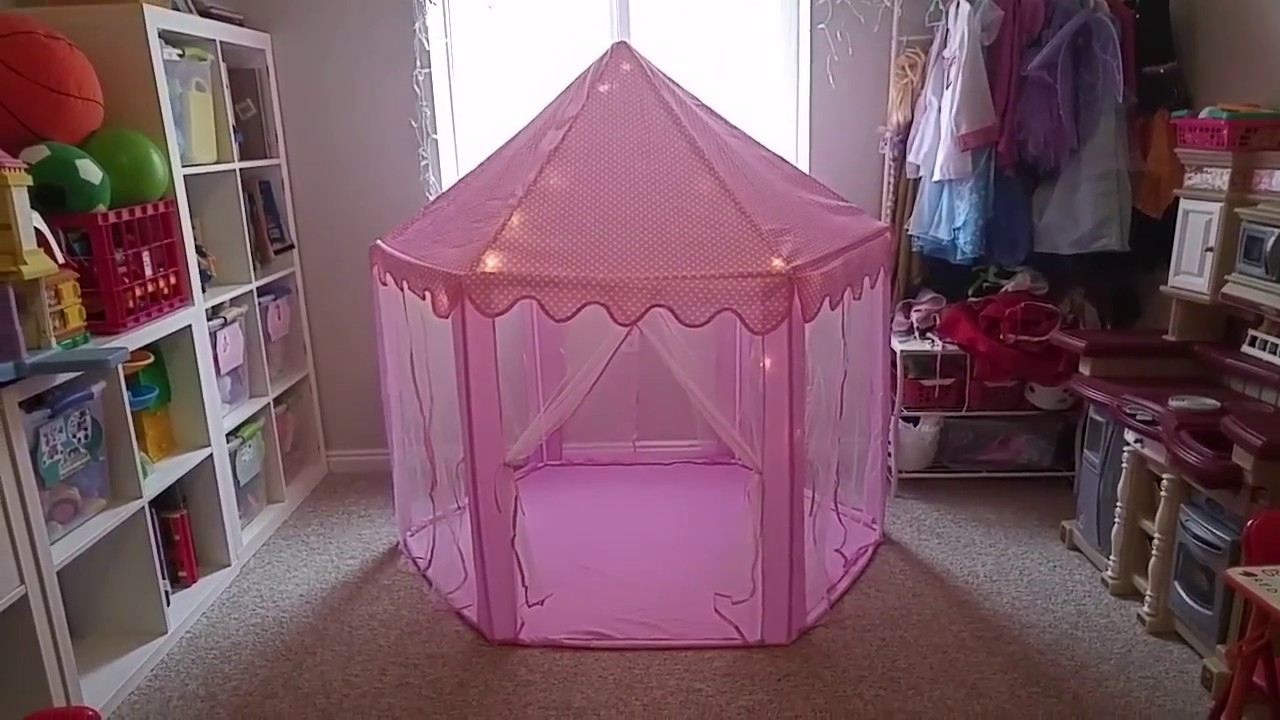 Sherosa Kids Indoor Princess Castle Play Tent - LED Star Lights : pink play tent - memphite.com