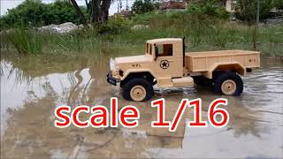 Military truck 1/16 unboxing and test mud and water amazing