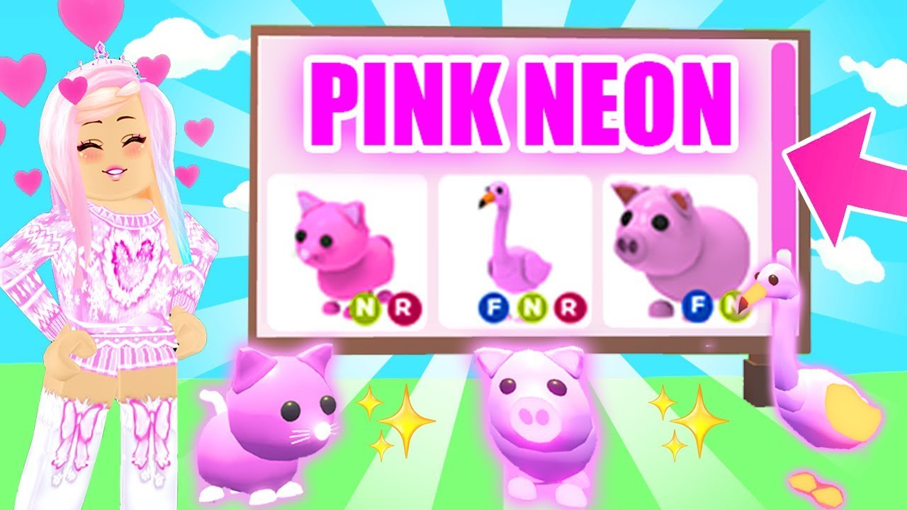 Turning All My Pink Pets Neon In Adopt Me Roblox Adopt Me Neon
