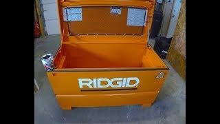 How does the RIDGID Jobsite Box Lock with a recessed Masterlock