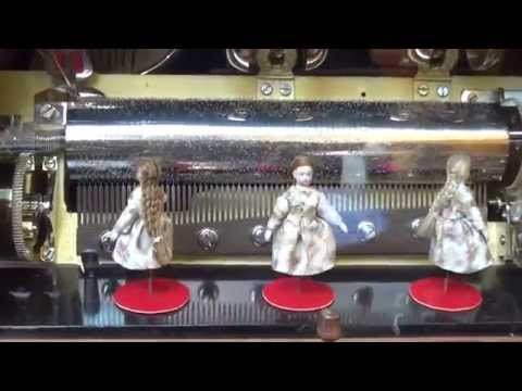 Antique Station Music Box: Dancing Dolls & Mandarin Strikers