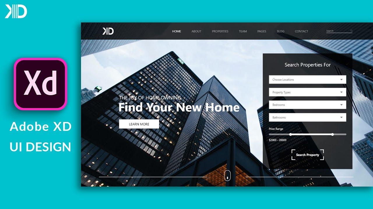 Ui Design For Real Estate Website In Adobe Xd Web Design Speed Art Youtube