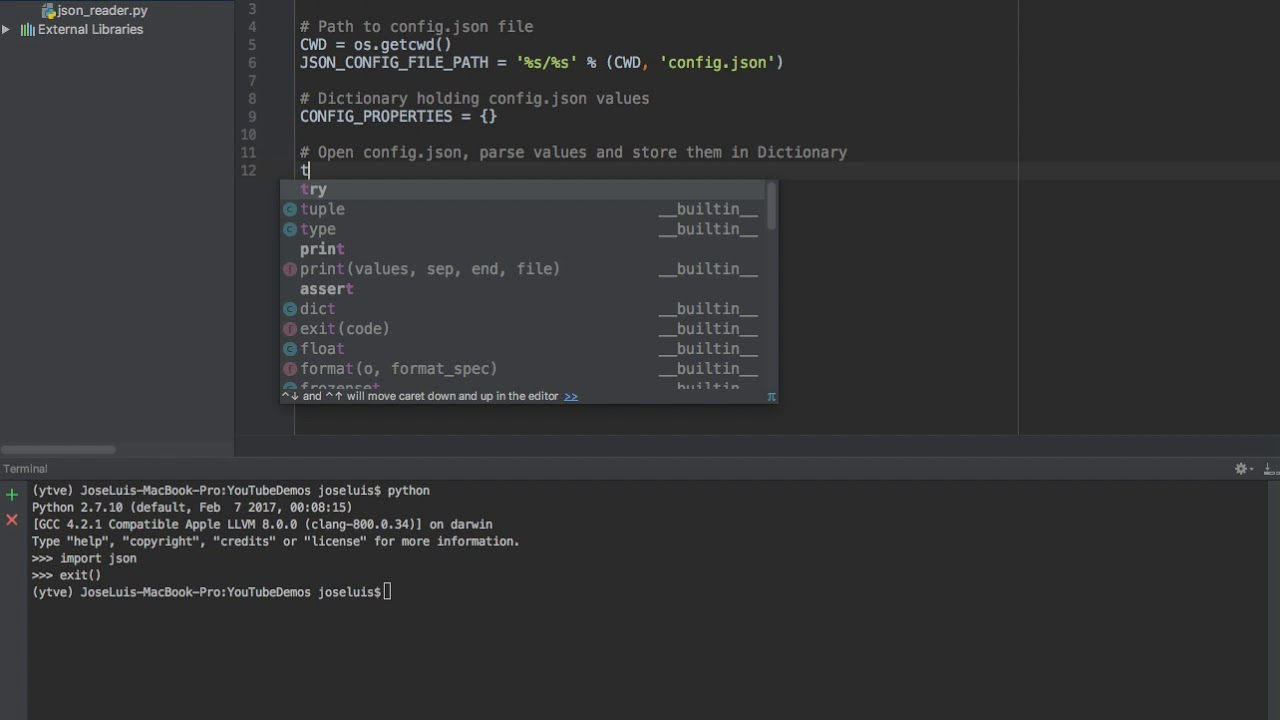 Python: Read JSON file and store its contents in a dictionary
