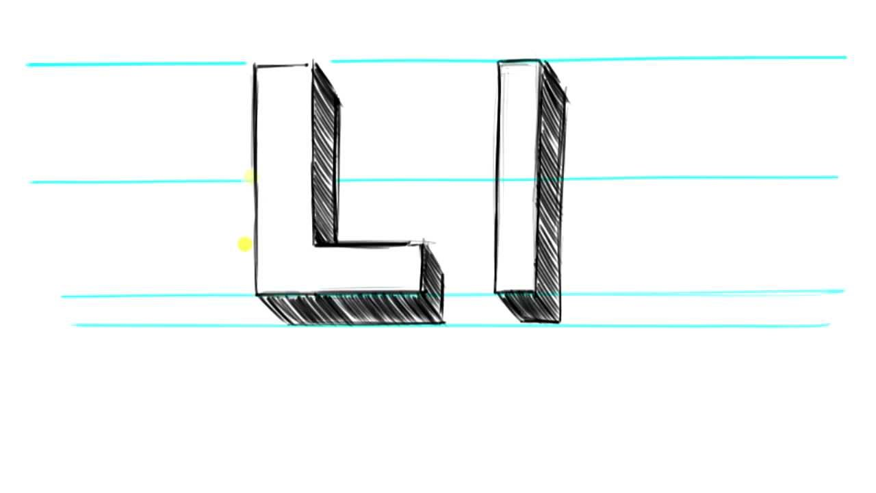 How to Draw 3D letters L  Uppercase L and Lowercase l in