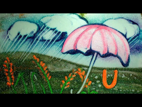 U -   Kinetic and Sand Art for kids by Ilana Yahav - learn ABCU for Umbrella