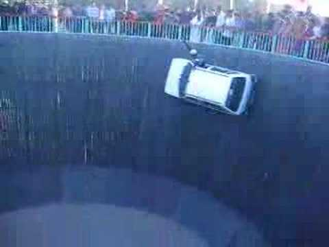 Cars driving on a wall centrifugal force