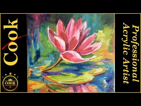 Water Lily Acrylic lesson with Rainbow Colors and Reflections