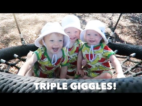Видео: Adorable Laughing Triplets on a Swing
