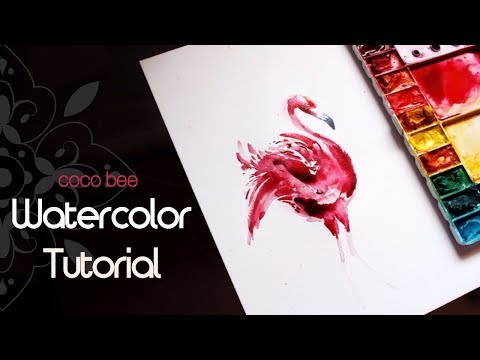 Flamingo/ Watercolor TUTORIAL/ Painting with Coco Bee