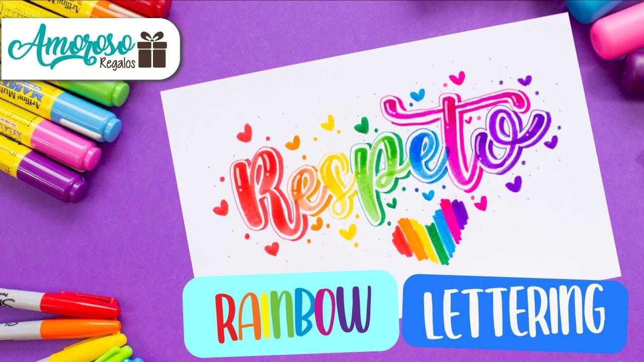 RAINBOW LETTERING ART | PRIDE | DIA DEL ORGULLO LGBTTTI+ | LETTERING ARCOIRIS | Amoroso Regalos