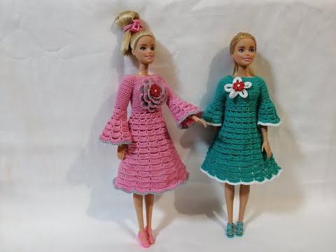 Вязаные платья крючком для кукол барби схемы