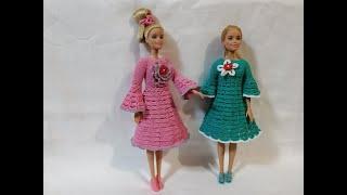МК Вяжем платье для барби крючком. Одежда для кукол крючком и спицами.