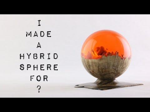 "#40 Hybrid Sphere 🌗 Burl & Resin ""Red Dawn"""