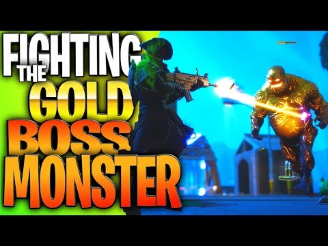 """Fighting The Epic Gold Boss Cube Monster In Fortnite!  New Gold """"Boss"""" Enemy Drops Lots Of Loot!"""