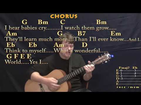 What A Wonderful World (Louis Armstrong) Strum Guitar Cover Lesson In G With Chords/Lyrics
