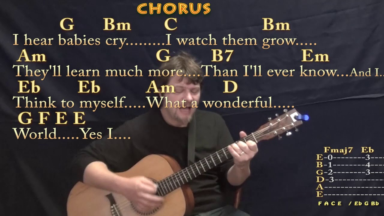 What A Wonderful World Louis Armstrong Strum Guitar Cover Lesson in G  with Chords/Lyrics