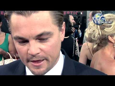 Leonardo DiCaprio walks the carpet and interviewed at Inception film premiere