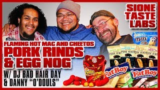 Sione tastes hot mac and cheetos, pork rinds, special m&ms and egg nog ice cream sammies!