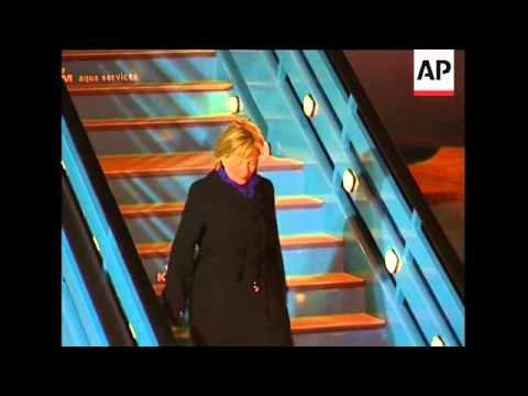 US Secretary of State Hilary Clinton arrives for conference on Afghanistan