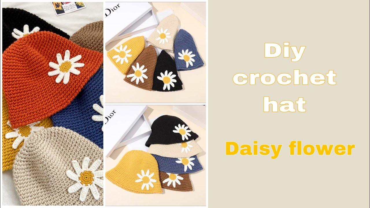 Diy crochet bucket hat  /How to make daisy flower for hat/สอนถักดอกเดซี่สำหรับตกแต่งหมวกบักเกต