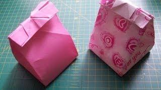 Как сделать из бумаги подарочный пакет оригами своими руками(Показываю и рассказываю, как сделать из бумаги простой и красивый пакетик с застежкой для подарка своими..., 2014-06-04T15:18:36.000Z)