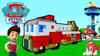 """Minecraft Tutorial: How To Make The Ultimate Fire Truck """"Paw Patrol"""""""