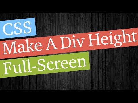 CSS Make A Div Full Screen